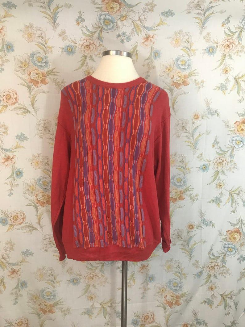 90s Swingers Style Atomic Sweater || Coogi Style || Plus Size Vintage ||  Sustainable Clothing || Androgynous