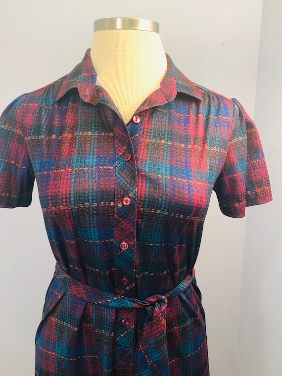 1970's Belted Plaid Shirt Dress in Jewel Tones ||