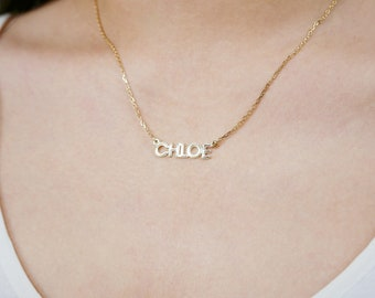 Tiny Name Necklace Print Font - Dainty Name Necklace - Bridesmaid Gift - Mother's Day Gift - Gold Filled - Handmade in New York