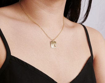 Square Initial Pendant Necklace - Personalized Initial Necklace - Wedding Gift - Sterling Silver & Gold Filled - Handmade in New York