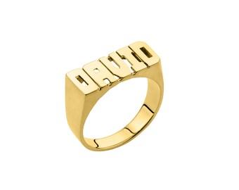 Nameplate Ring Block Letter Name Ring (8mm) - Name Ring - Custom Name Ring - Personalized Name Ring - Sterling Silver - Handmade in New York