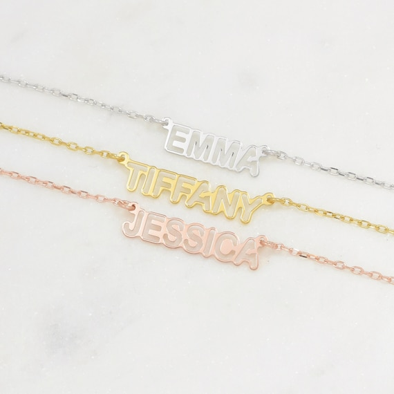 New Dainty Name Necklace • Name Necklace • Custom Necklace • Tiny Name Necklace • Gold And Silver • Best Friends Gift • Gift For Mom • Nhlb by Etsy