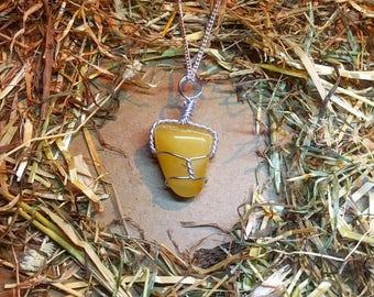 Handmade Yellow Jade Crystal Necklace