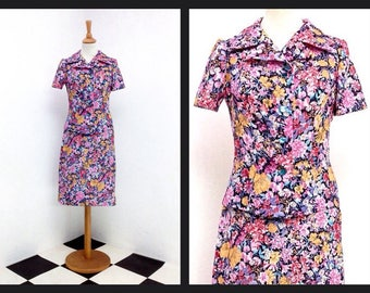 vintage two-piece dress with pink floral pattern