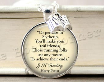 J K Rowling, 'Or Perhaps In Slytherin' House Song Necklace, Slytherin Key ring, Keychain, Draco Malfoy, J K Rowling Jewelry