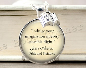 Pride and Prejudice, 'Indulge Your Imagination...' Jane Austen, Mr Darcy Quote Charm Necklace, Book Key Ring, Keychain