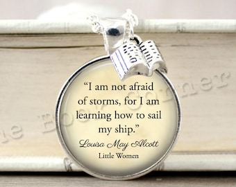 Little Women, '...I am Learning How to Sail my Ship' Quote Necklace, Book Keychain, Louisa May Alcott Key ring