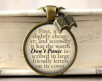 Douglas Adams, 'Don't Panic' The Hitchhiker's Guide to the Galaxy Quote Necklace, Keychain, Literary Key ring