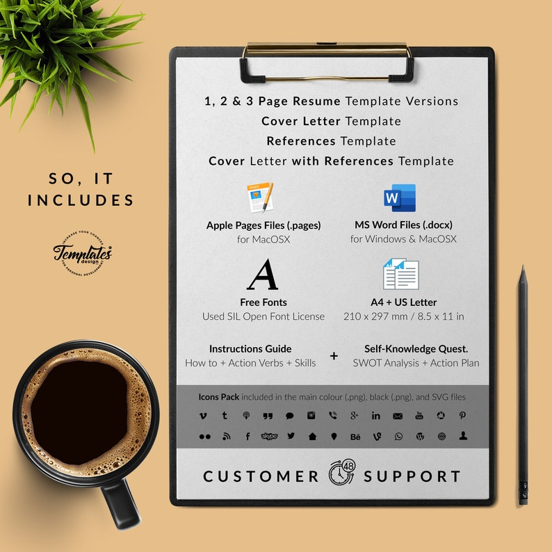 Cover Best Simple Resume Template Etsy  Basic /& Clean Resume References  CV for Word and Pages  Perfect Resume for Any Job Position