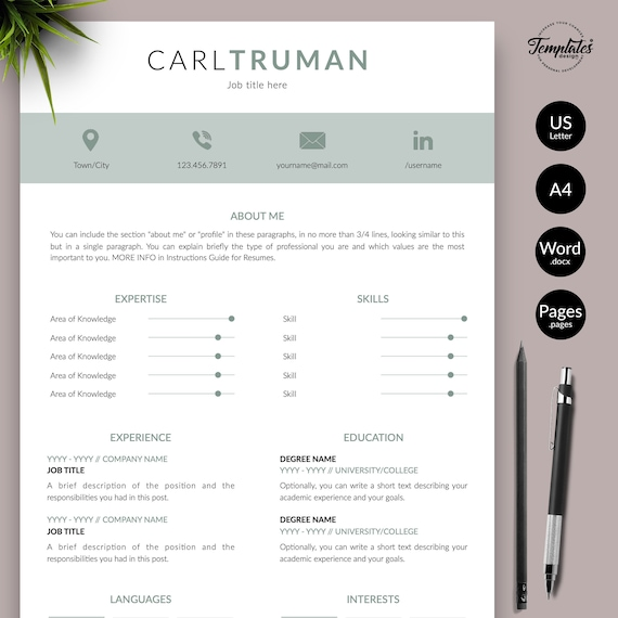 Elegant Cv Resume Template Resume For Microsoft Word And Apple Pages Simple Clean Resume Format Downloadable 1 2 And 3 Page Resume