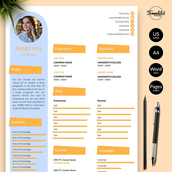Creative Resume Template For Word Instant Download Cv Template Creative Cv Design And Cover Letter Included Cv Word Pages Compatible
