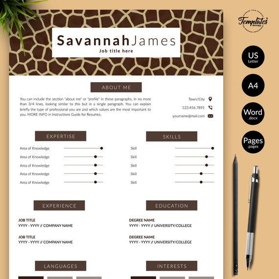 Animal Print Resume Cv Template For Word Pages Cv For Safari Assistant Veterinarian Animal Curator Zoo Director Instant Download