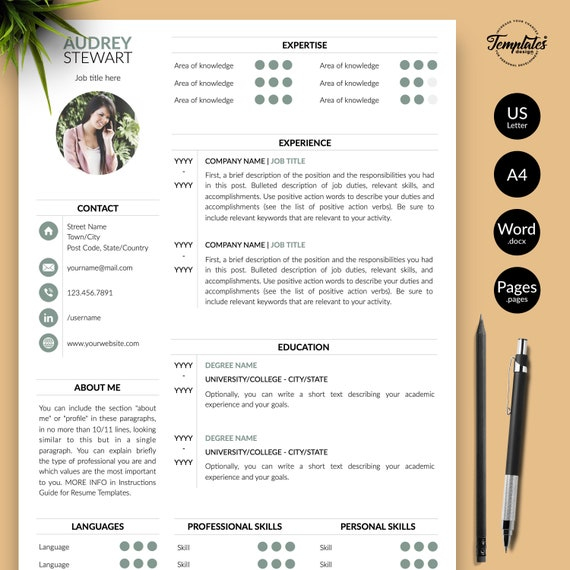 Modern Resume with Photo + Cover / Perfect CV for Word and Pages / Best  Professional Resume Template Etsy / One, Two, and Three Page Resume