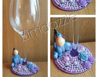 Custom Winnie The Pooh EEYORE Inspired Wine Glass - Glitter Diamante Personalised Glass Made to Order