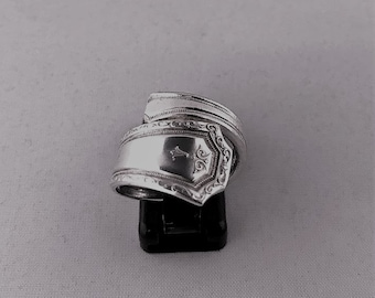 Silver-plated teaspoon ring with engraving