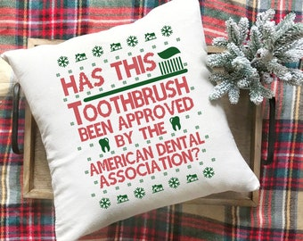 Hap-Hap-Happiest Christmas 20 x 20 Pillow Cover  Christmas Vacation  Clark Griswold  Holiday  Funny  Gift  Accent Pillow