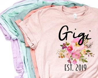 ee02a7c8 Gigi Shirt, Gigi Gift, Gigi Gift, Gigi T Shirt, Gigi TShirt, New Gigi,  Pregnancy Reveal, Custom Gigi, Pastel Shirt, Bella Canvas - Item 6029
