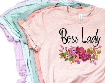282f4481 Boss Lady Shirt, Boss Shirt, Best Boss Ever, Gift for Boss, Bosses Day,  Floral Boss Lady, Boss Gift, I'm The Boss, Bella Canvas - Item 6054