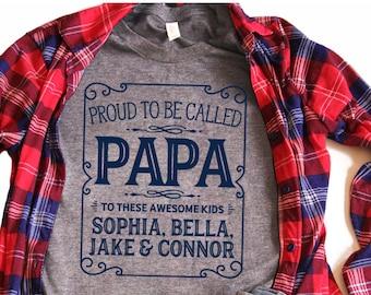 0c0a13338 Papa T Shirt, Papa Shirt, Nana and Papa, Papa Gift, Papa, Custom Papa Shirt,  Grandkids Names Shirt, Personalized Papa Shirt - Item 7090
