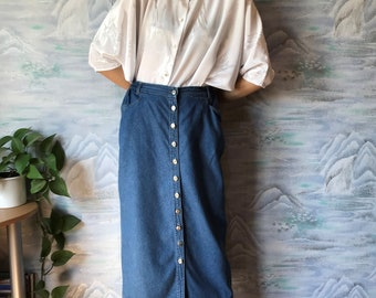 87690188e21 Vintage Bodycon Skirt Bodycon Denim Skirt Midi Skirt Button Up Skirt High  Waist Skirt 90 s Grunge Skirt Size Large to Extra LargeSize Skirt