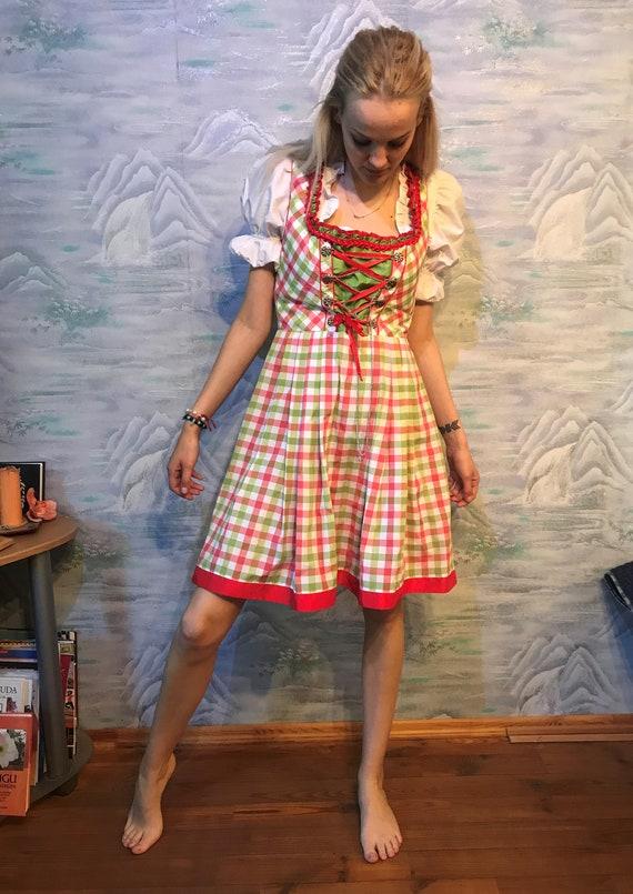 Vintage Beige Suede Leather Dress Landhaus  Trachten Dress  Dirndl Suede Dress  Lace Up Dress  Austrian Dress  Folk Bavarian Dress