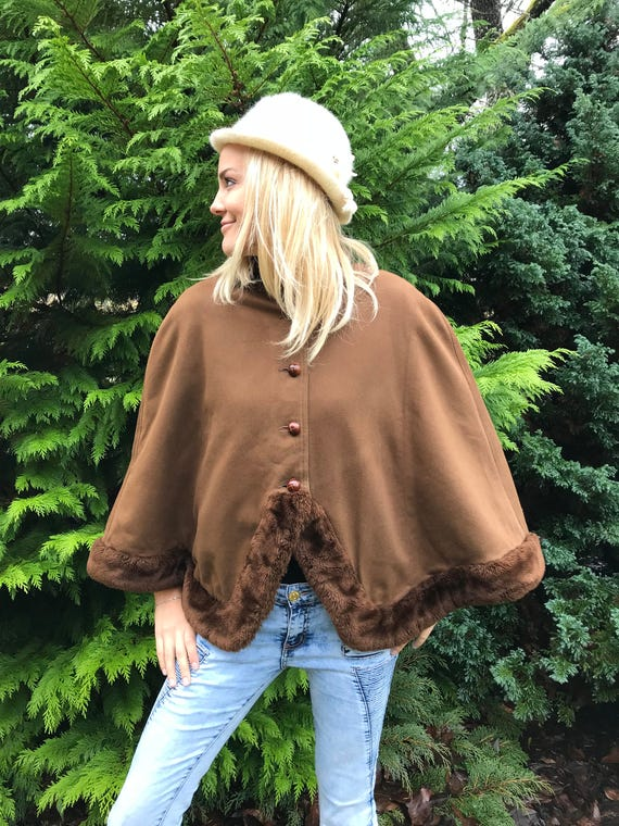Armani Brown Cropped Cloak Sand Brown Cape Coat El