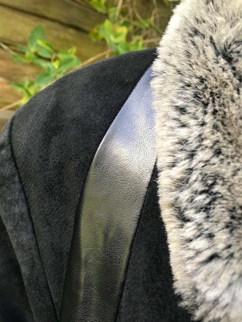 Trim Größe Leder Große Schwarzem Veloursleder Mantel Parka