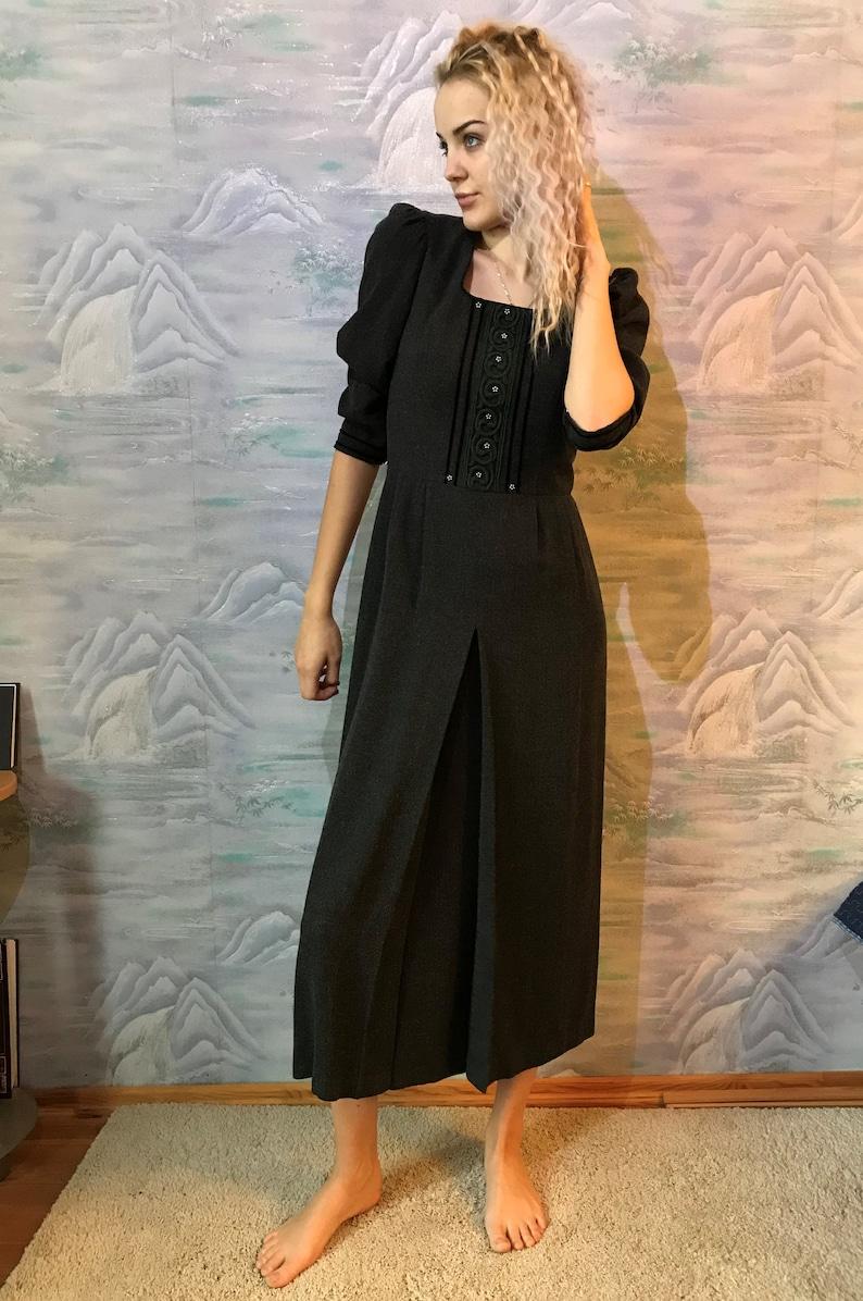 119e735014cbf Gray Dirndl Wool Viscose Dress Austrian Folk Dress Gray Dress | Etsy