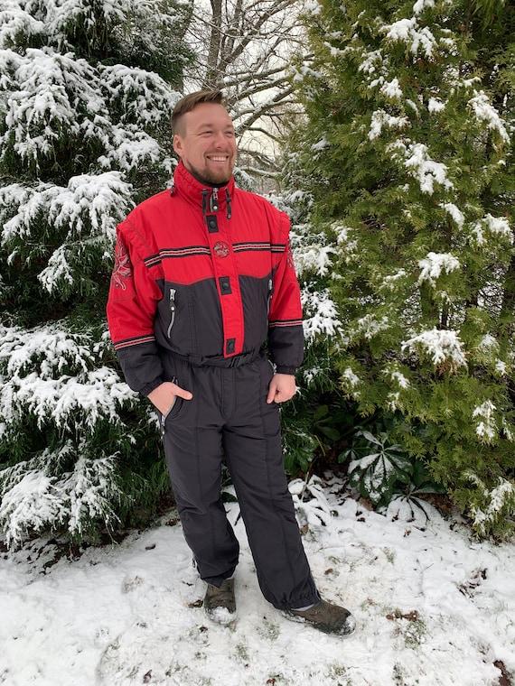 80s One Piece Ski Suit Hot Red Black Snowsuit Wint