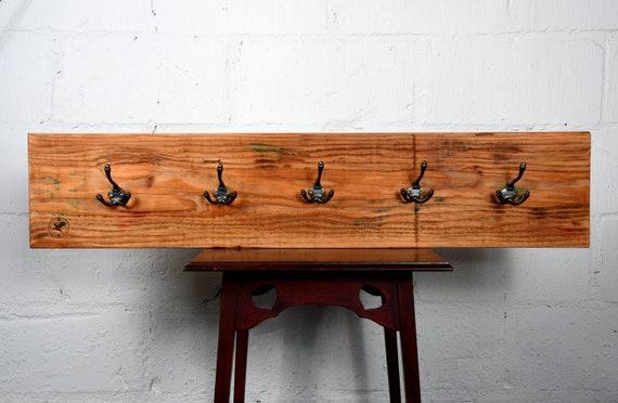 "Handmade Distressed Wooden 28"" Hat An Coat Rack Wall Mount Cast Iron Hooks"