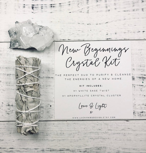 New Beginnings Crystal & Smudge Kit, Apophyllite Crystal, White Sage Smudge Stick Gift Set, New Home, Housewarming Gift, Energy Cleansing
