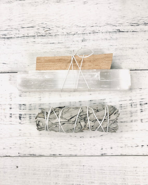 Home Cleansing Smudge Kit, Palo Santo, White Sage, Selenite Crystal, Space Clearing, House Warming Gift, Anti Bacterial, Smudge Starter Kit