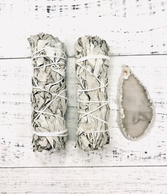 White Sage Smudge Stick Duo Pack, x2 White Sage Twists, Hand Tied Bundles for Energy & Crystal Cleansing