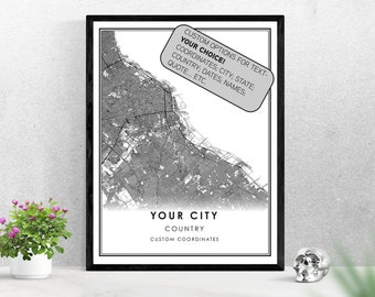 Custom Personalized Map City Print Poster Canvas | Any City Hometown Roads Streets Map Gift