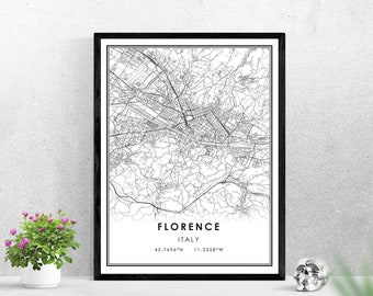 Florence Map PrintItaly Wall Art PosterCity Maps ArtworkItaly Map Gifts
