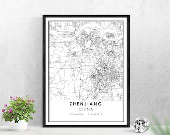 Zhenjiang map print poster canvas | China map print poster canvas | Zhenjiang map print poster canvas
