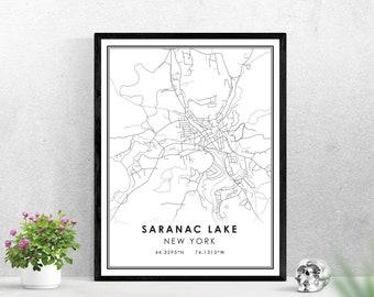Saranac Lake map print poster canvas | New York map print poster canvas | Saranac Lake map print poster canvas
