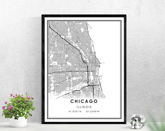 Chicago map print poster canvas | Illinois map print poster canvas | Chicago city map print poster canvas