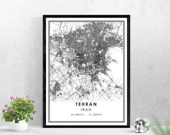 Tehran map print poster canvas | Iran map print poster canvas | Tehran map print poster canvas