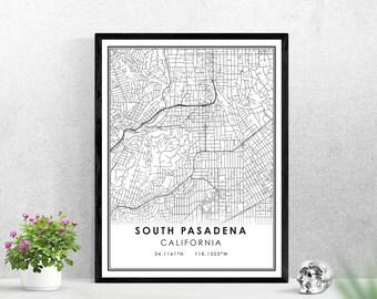 South Pasadena map print poster canvas | California map print poster canvas | South Pasadena map print poster canvas