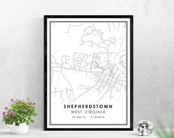 Shepherdstown map print poster canvas | West Virginia map print poster canvas | Shepherdstown map print poster canvas