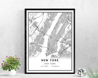 New York map print poster canvas | New York city map print poster canvas