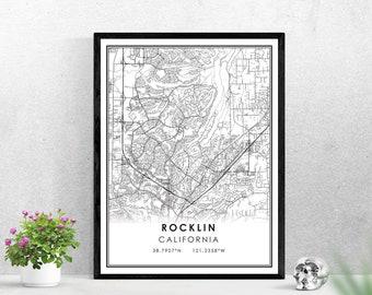 Rocklin map print poster canvas | California map print poster canvas | Rocklin map print poster canvas