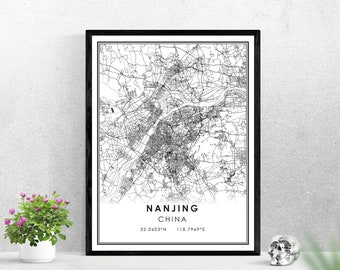 Nanjing map print poster canvas | China map print poster canvas | Nanjing city map print poster canvas