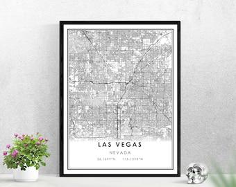 Las Vegas map print poster canvas   Nevada map print poster canvas   Las Vegas city map print poster canvas