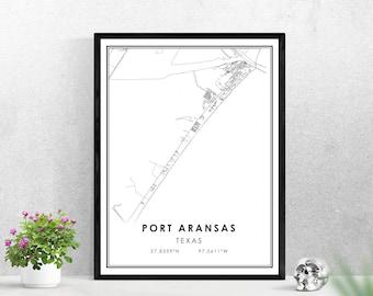 Port Aransas map print poster canvas   Texas map print poster canvas   Port Aransas city map print poster canvas