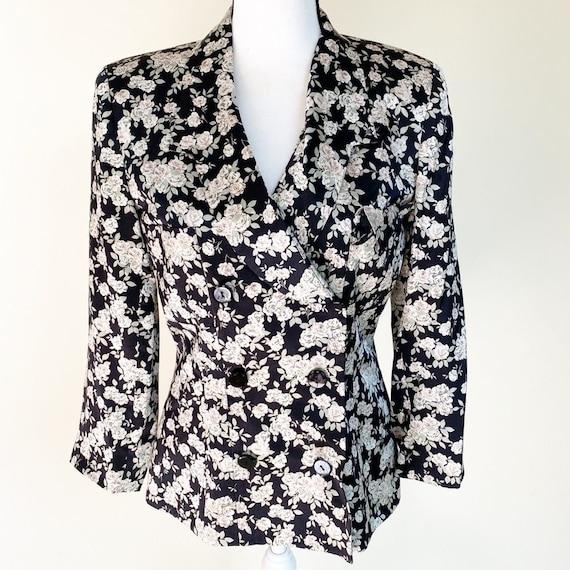 Albert Nipon   Vintage Silk Black Floral Blazer