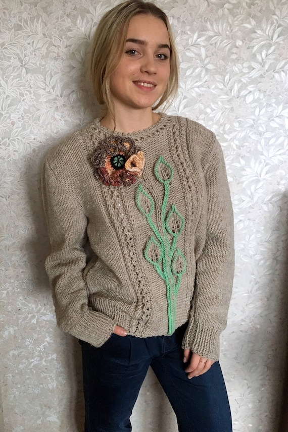 Hand Knitted Womens Sweater Womens Knitted Sweater Etsy