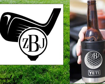 Golf Decal with Monogram // golf decal // gifts for him // tumbler decal // yeti decal