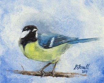 Bird Art Print Study of a Great Tit - Giclee